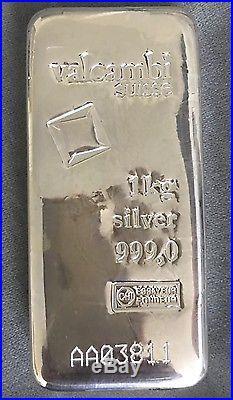 1000g 1 kilo Solid Silver Bar Suisse