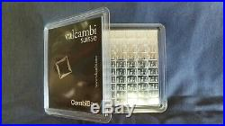 100 Grams. 999 Solid SILVER Valcambi Suisse Combibar (100x1gram bar) with ASSAY