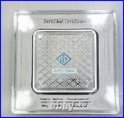100 gram Geiger Original square. 999 fine silver bar in assay C33