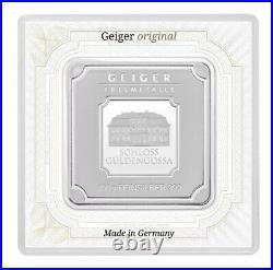 100 grams Geiger Original square. 999 fine silver bar in assay