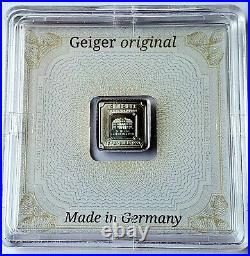 (10) Geiger Edelmetalle 1 gram. 999 Silver Square Bar Encapsulated with Assay