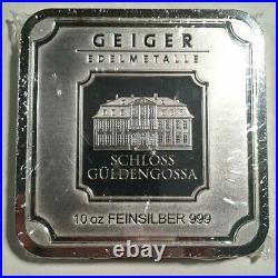 10 Oz. 999 Fine Silver Geiger Edelmetalle Sealed Square Bar Blast White