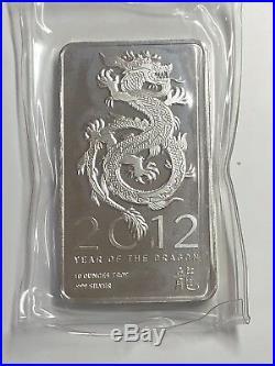 10 Oz. Solid. 999 Silver Bullion Art-bar 2012 Year Of The Dragon