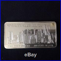 10 Oz Solid. 999 Silver Wall St Mint Bar