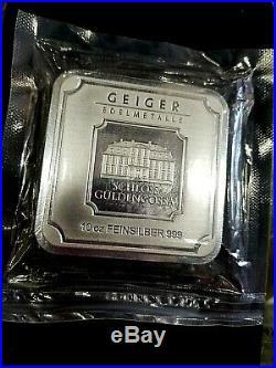 10 oz Geiger Silver Bar Square. 999 Fine Silver Geiger Edelmetalle