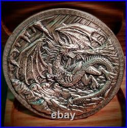 10 oz Monarch Dragon vs Viking Silver Rounds. 999 Fine withSolid Oak Display Box