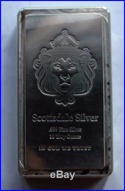 10 oz Silver bar Scottsdale Stacker. 999 Fine Solid Silver