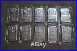 10 x 1oz (troy) NORTHWEST TERRITORIAL MINT. 999 solid silver bars