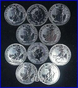 10 x 2018 1oz Solid Silver UK Britannia Coins from sealed tube