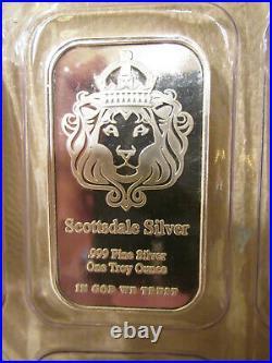 10 x Genuine New 1oz Scottsdale 999 Solid Silver Bullion Bar Sealed