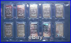 10 x One 1 oz JOHNSON MATTHEY 999 FINE SOLID SILVER BULLION BARS SEALED 1/684