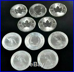 10 x SILVER COINS 5 X KANGAROO + 5 X MAPLE 2020 BUNC 1 oz. SOLID SILVER