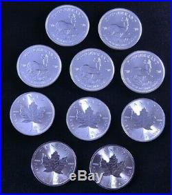 10 x SILVER COINS BUNC 1 oz. SOLID SILVER 5 X MAPLE & 5 X KRUGERRAND 2020
