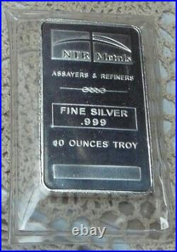 10oz. 999 Fine Solid Silver Bar. In Factory Sealed plastic pouch F