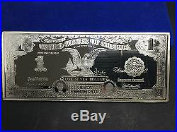 10oz Solid 999 Pure Silver American One Silver Dollar Silver Certificate Bar. A1