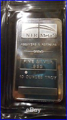 10oz solid silver bar from NTR metals