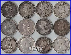 12 Solid Pre 1920 925 Silver Antique CROWN coins large Heavy Lot Bullion