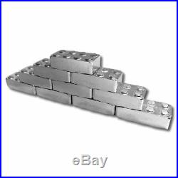 12 oz. 999 Fine Silver Qty 12 1oz Block Bars plus Solid Wood Building Base