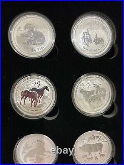 12 x 1oz Solid Silver Lunar Series 2 Complete Coin Set & Meine Munzbox 2008-2019