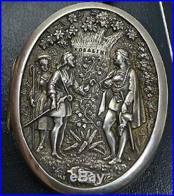 1878 HUGE Victorian Heavy SOLID SILVER Shakespeare AS YOU LIKE IT Scene LOCKET