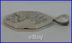 1879 Victorian Aesthetic Emu Design Solid Silver Locket & Collerette Chain
