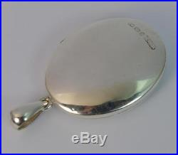 1879 Victorian Aesthetic Movement Large Solid Silver Locket Pendant