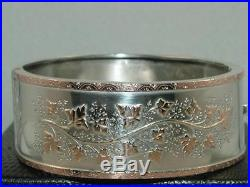 1885 VICTORIAN WIDE 9ct GOLD ON SOLID SILVER HINGED BANGLE BRACELET 33 g NICE