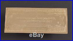 18K Gold Plated ONE MILLION DOLLAR 4oz solid silver bar Limited Edition