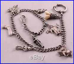 1900s Antique SOLID SILVER POCKET WATCH CHAIN WITH Little Figurine AMULETS 35Gr