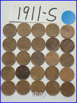 1911-s Cent Half Roll Solid Date = 25 Lincoln Wheat Pennies (8 Items Ship Free)