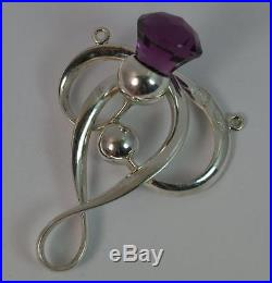 1912 Charles Horner Solid Silver & Amethyst Thistle Art Nouveau Pendant