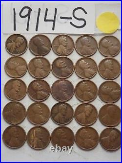 1914-s Cent Half Roll Solid Date =25 Lincoln Wheat Pennies (8 Items Ship Free)