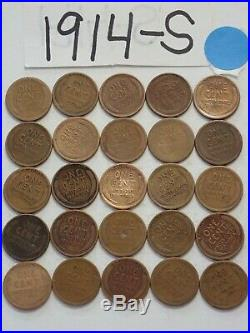 1914-s Cent Half Roll Solid Date = 25 Lincoln Wheat Pennies (8 Items Ship Free)