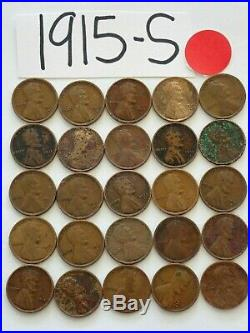 1915-s Cent Half Roll Solid Date = 25 Lincoln Wheat Pennies (8 Items Ship Free)
