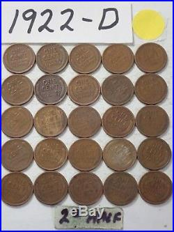 1922-D CENT HALF ROLL SOLID DATE = 25 LINCOLN WHEAT PENNIES 8 or more ship free