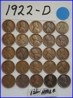 1922-D CENT HALF ROLL SOLID DATE = 25 LINCOLN WHEAT PENNIES(8 + ships free)