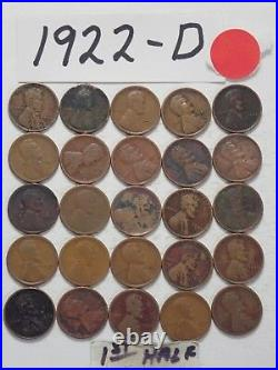 1922-d Cent Half Roll Solid Date = 25 Lincoln Wheat Pennies (8 Ships Free)