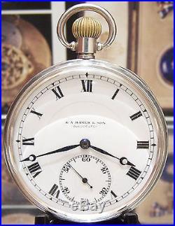 1924 Antique Vintage Rolex Solid Silver Mans Pocket Watch Serviced 3x Signed