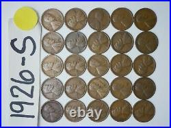 1926-s Cent Half Roll Solid Date =25 Lincoln Wheat Pennies (8 Items Ship Free)