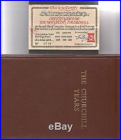 1974 Pobjoy MInt THE CHURCHILL YEARS 12 solid silver ingot & medallion set + COA
