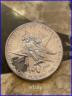 1986 One Pound. 999 Solid Silver Coin Texas Independence Centennial Bullion