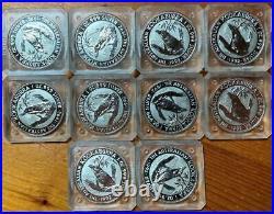 1992 $1 KOOKABURRA SILVER 1 oz BULLION COINS x 10 in ORIGINAL SQUARE CASES
