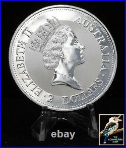 1992 Australian Kookaburra 2 oz. 999 Silver with Perth Mint Square Capsule BU