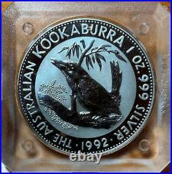 1992 x 1 oz SLAB of 8 SILVER KOOKABURRA BULLION COINS in SQUARE CAPSULES. SCARCE