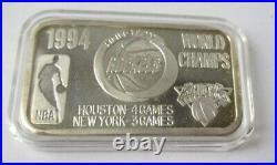 1994 Nba Champs Houston/giants Vintage 1994.999 Solid Silver Art Bar #145/200