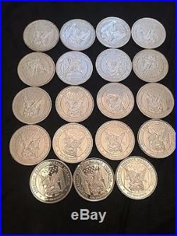 19 x ONE OUNCE APMEX SOLID SILVER COIN 999 FINE SILVER
