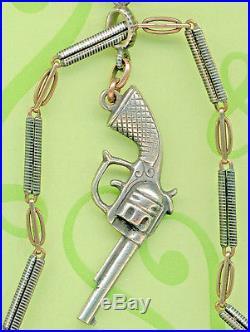 19c SOLID SILVER NIELLO AND VERMEIL GOLD POCKET WATCH CHAIN GUN REVOLVER Seal800