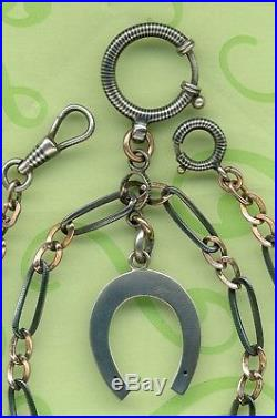 19c SOLID SILVER NIELLO AND VERMEIL GOLD POCKET WATCH CHAIN HORSE UNICORNE SEAL