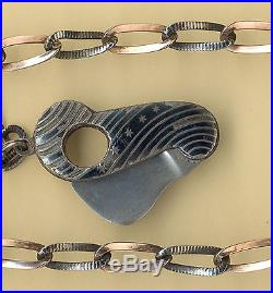 19c SOLID SILVER NIELLO AND V. GOLD POCKET WATCH CHAIN CIGAR CUTTER 2 SEAL 800