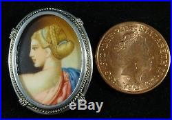 19th Century Solid Silver Oval Miniature Portrait Painting Pendant or Brooch
